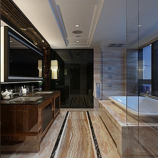 酒店浴室整体模型
