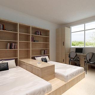 双人卧室整体模型