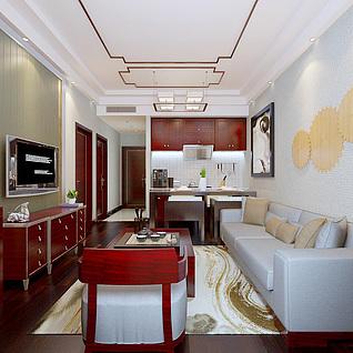 老年公寓客厅整体模型
