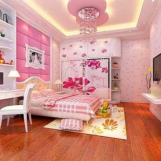 温馨女儿房整体模型
