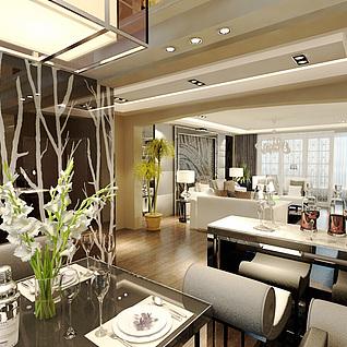 现代家装整体模型