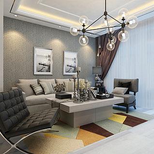 室内客厅整体模型