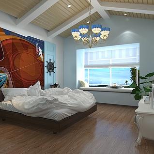 地中海卧室整体模型