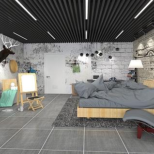 艺术感强的灰色调卧室整体模型