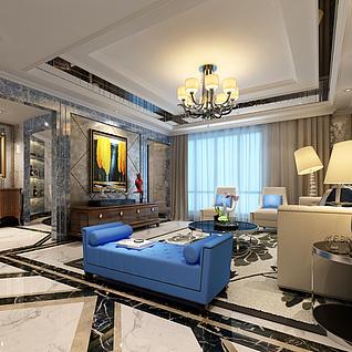 现代欧式客厅整体模型