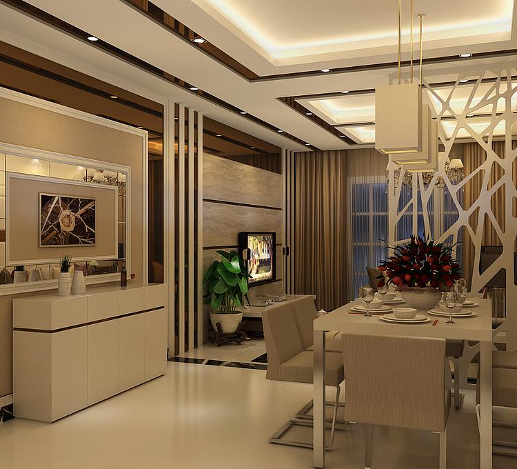现代简约客餐厅模型