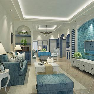 地中海客厅整体模型3d模型