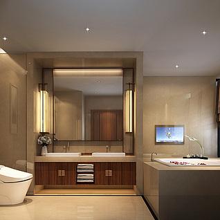 洗手间,精品模型与灯光整体模型