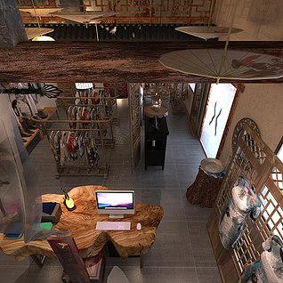 中式服装店3d模型