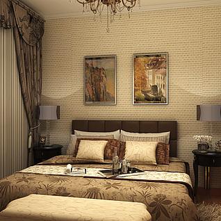 简欧卧室效果图整体模型