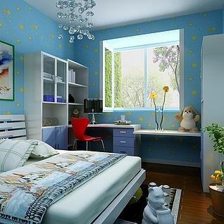 蓝色儿童房装修整体模型