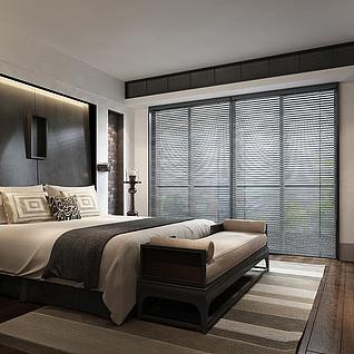 新中式卧室整体模型