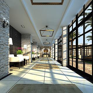 度假酒店走廊整体模型