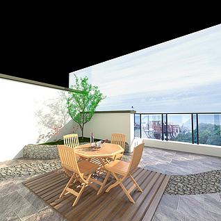 屋顶天台整体模型