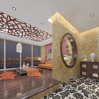 中式休闲区整体模型