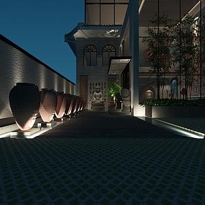 別墅后庭3d模型