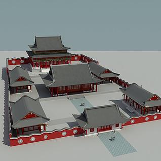 古代寺庙整体模型