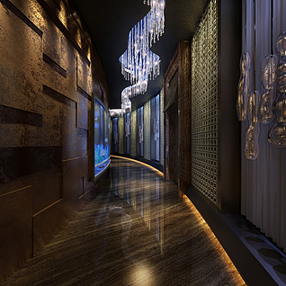 古典酒店走廊整体模型