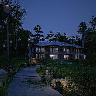 夜景室外别墅整体模型