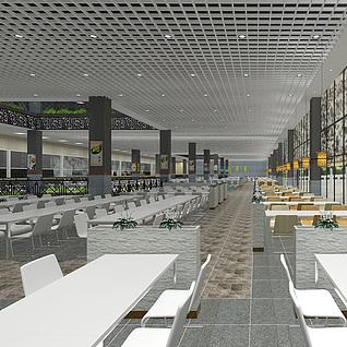 中式食堂整体模型