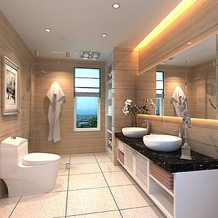家装卫生间整体模型