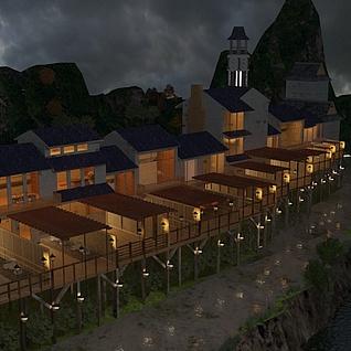 日式京都传统居民住宅整体模型