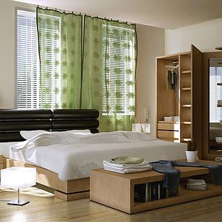 现代温馨卧室整体模型