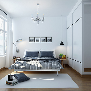 北欧卧室整体模型