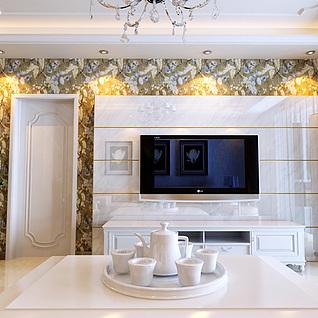 简欧客厅餐厅及走廊整体模型
