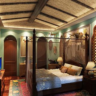 越南风格卧室整体模型
