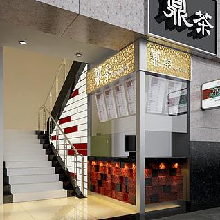 楼梯口凉茶店整体模型