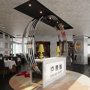 现代咖啡厅整体模型