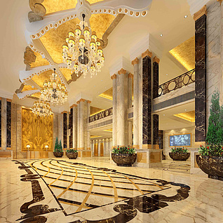 豪华酒店大堂整体模型