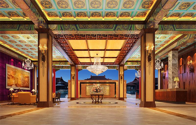 中式酒店模型