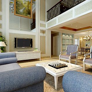欧式豪华客厅整体模型