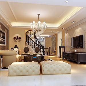 欧式豪华客厅3d模型