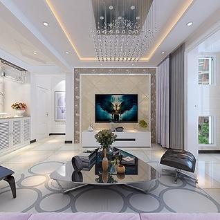 现代简约客厅整体模型