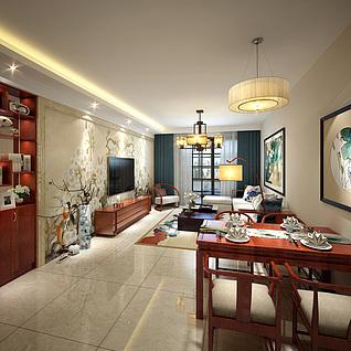 现代新中式客餐厅整体模型