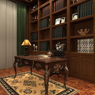 普通住宅设计小面积书房整体模型