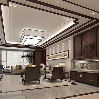 新中式别墅客厅整体模型