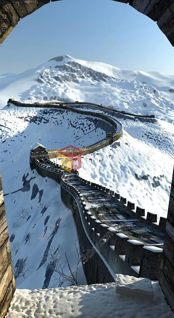 雪景万里长城