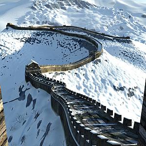 雪景万里长城家装模型