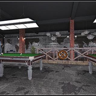 工业风格台球厅整体模型