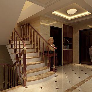 别墅楼梯过道整体模型