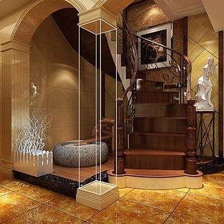 别墅楼梯间整体模型