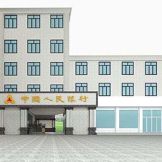 银行建筑门头整体模型