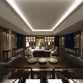 中式餐厅包房整体模型