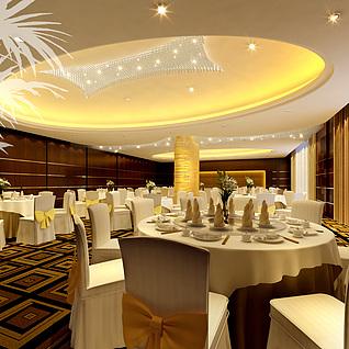 酒店就餐餐厅整体模型