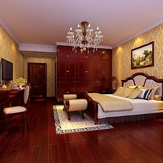 美式卧室整体模型