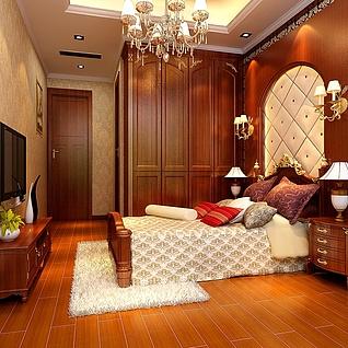 欧式古典卧室整体模型